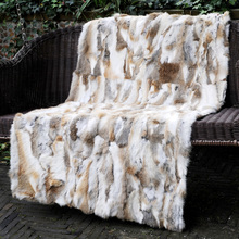 CX-D-11B New Style Natural Colour Rabbit Fur Throw Blanket Knit Blanket