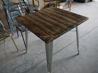 Vintage Industrial Metal Leg Dining Wood Table Rustic Dining Table