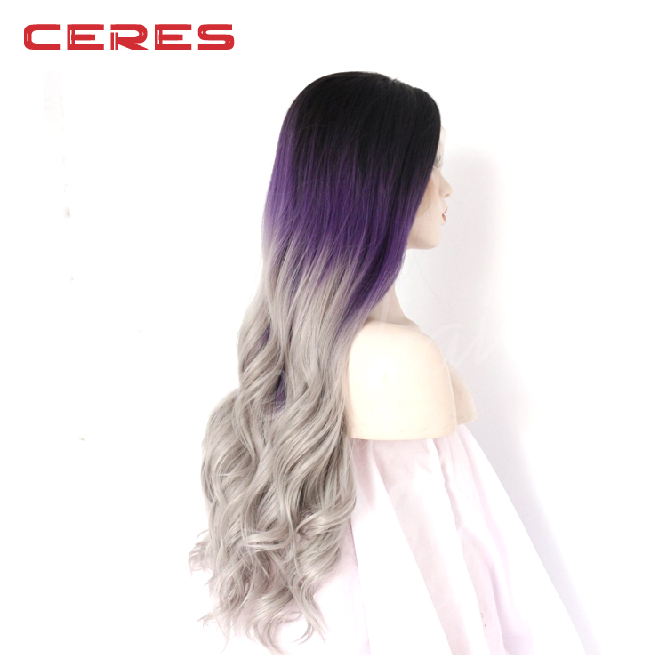Women Synthetic Lace Front Wigs Cheap Heat Resistant Natural Wavy 3 Tones Dark Roots Purple Grey Hair Wig