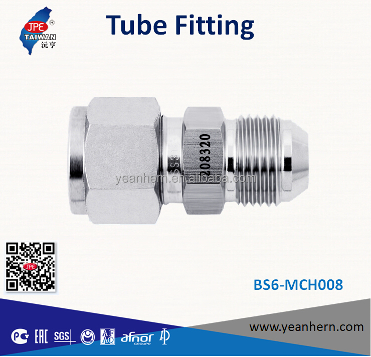 Taiwan Instrumentation Double Ferrule Stainless Steel 316 Tube Fitting Straight An Union Connector/ An Tube Flare