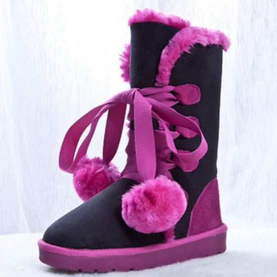 New women female cone winter genuine leather winter fur warm boots lovely sweet bowknot students fur ball cotton snow boots