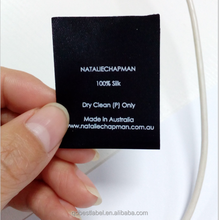 High quality factory custom logo satin printed label for clothing