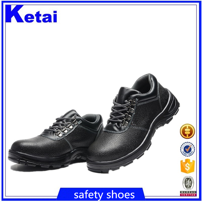 India Imported genuine cow embossed leather safety shoes for workers cheapest price good quality