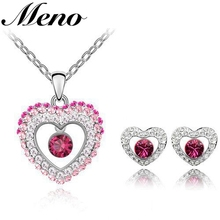 Fashion red Austrian crystal heart shaped necklace earrings set wedding jewelry