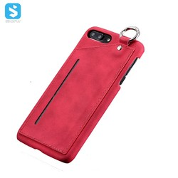 With Card Slot and metal loop PU Leather Back Case for iPhone 7 8 Plus ,leather phone case