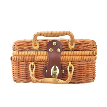 Wholesale Vietnam Square Travel wooden luggage Wicker Bag Bali Rattan Bags Indonesia