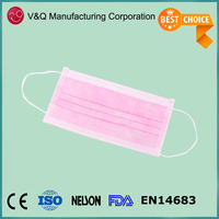 Disposable 3 ply Pleated Pink Dispos Hospit Face Mask