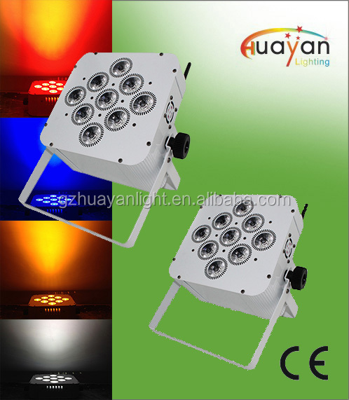 9pcs of 10W RGBW 4in1 QUAD LED Flat Par with battery and Remote Control,uplighting