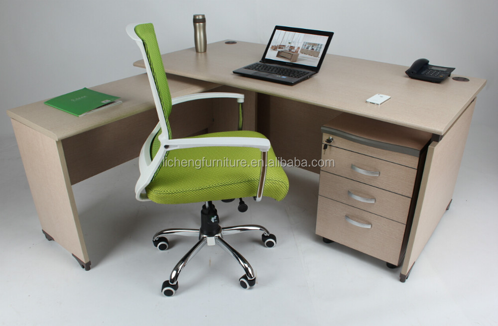 Maple color office desk with side table