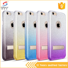 Glitter paper tpu pc 3 in 1 kickstand mobile phone case for iphone for samsung for LG for OPPO