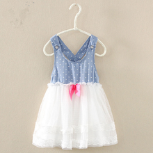 2017 kid clothing combination denim chiffon back crossing sleeveless tutu frock design pictures for children gown