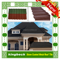 Al-zn alloy material Stone chips coated steel tile aluminum roofs metal roof tiles