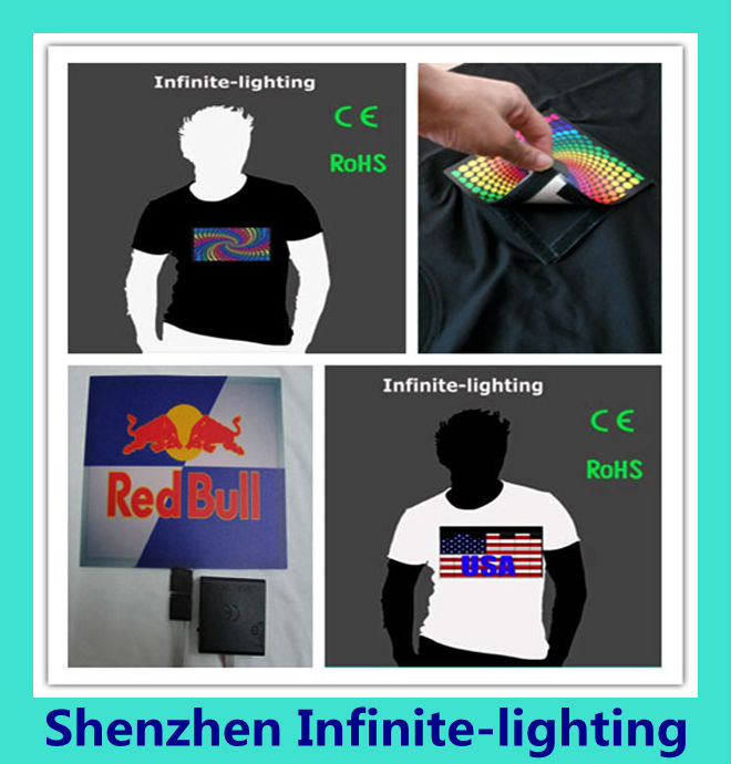 2014 USA Flag Electroluminescent t-shirt/EL Responsive Shirt/ Sound Activated T-Shirt for World Cup