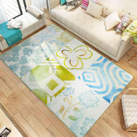 Mediterranean Polyester Micro Fiber Soft Living Room Floor Rug and Carpet, Bedroom Mats Anti-slip Printed Geometric carpets rugs