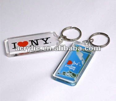 Promotional clear blank plastic acrylic photo keychains