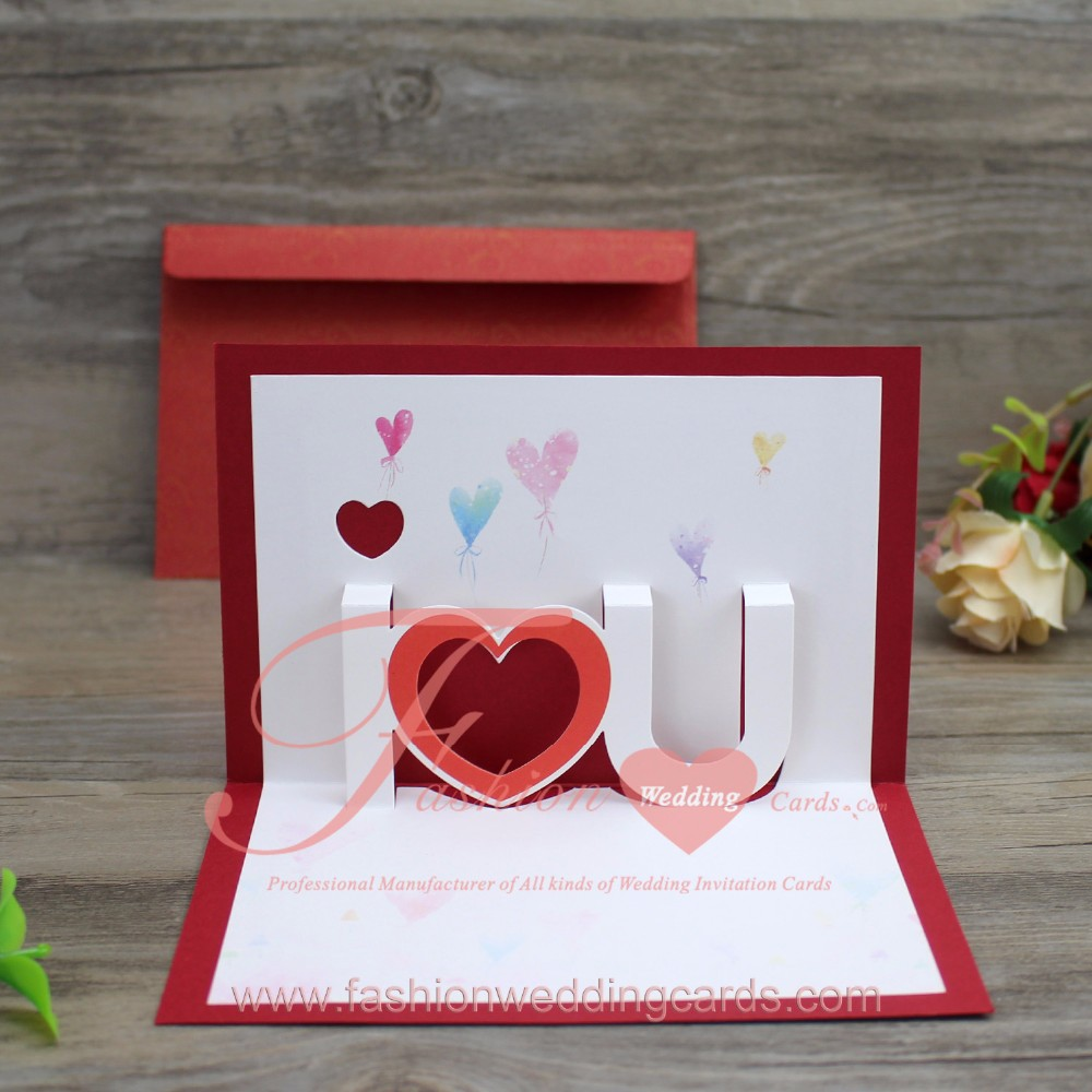 Modern Chinese Red 3d Pop Up Wedding Invitations Card - Buy 3d ...