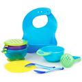 Baby Feeding Accessories Bundle: Spill Proof Bowl + Food Masher + Spoon / Fork + Bib, Multiple Color, Private Label