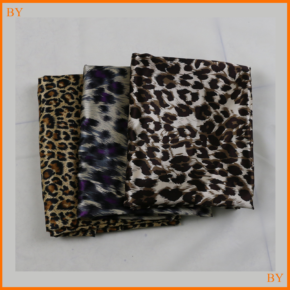 Soft Sleepwear Material Satin Brown Leopard Print Material