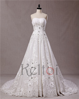guangzhou wedding dress factory strapless crystal beads wedding dress with cheap price