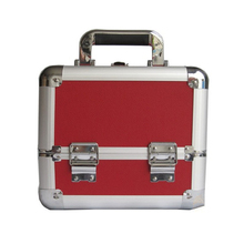 Small Red Double PU Aluminium Cosmetic Vanity Carrying Case