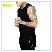Whosale Gym Tank Men Solid Black Hip Hop Gym Stringer Men Sides Zipper Extended Men Tank Top Brand Stylish Mens Gym Clothing