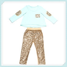 Baby outfit plain aqua t-shirt with sequin pants set girl glitter clothes baby clothing set girls valentines boutique outfits