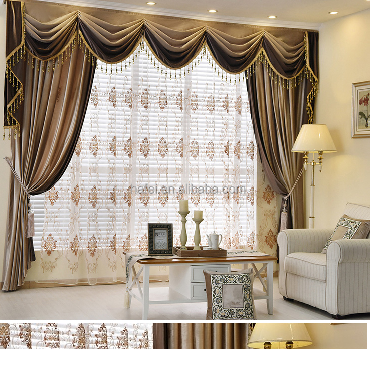 velvet solid color blackout fashion curtains with attached valance