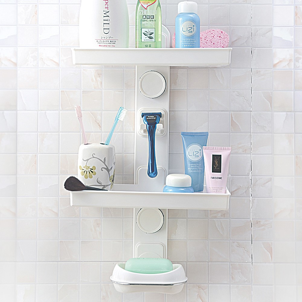 Diy bathroom wall mounted plastic soap holder razor holder for Bathroom accessories plastic
