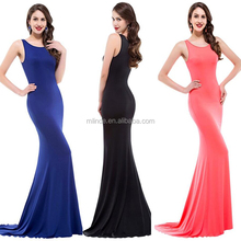 Latest Gown Designs 2017 Stylish Simple Style Black White Blue Elegant Dress For Ladies Long Evening Party Wear Gown