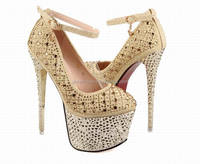 2014 Sexy lady high heel shoe with diamonds