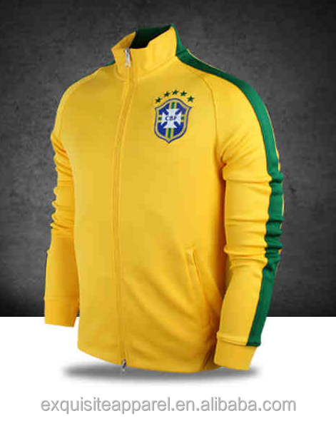 high quality mens custom 100% polyester football team jacket slim fit yellow white color casual custom football jacket