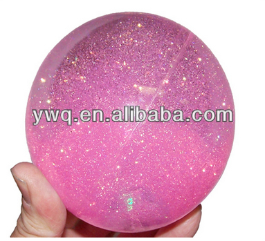 Pink crystal led bouncing ball with thin flashing light up transparent rubber ball