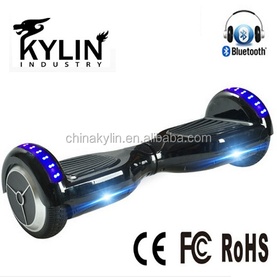China manufacturer UL 6.5 inch 2 wheel hoverboard black electric scooter with LED light