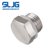 SLJG Pneumatic straight Copper nickel plating BSP pipe thread fitting male end plug screw pipe fitting
