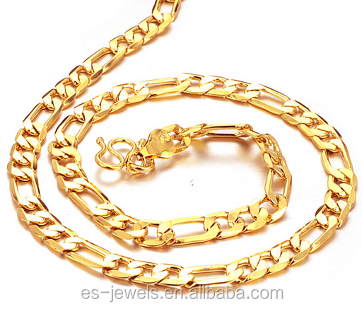Trendy western simple gold alloy long O chain necklace 18k