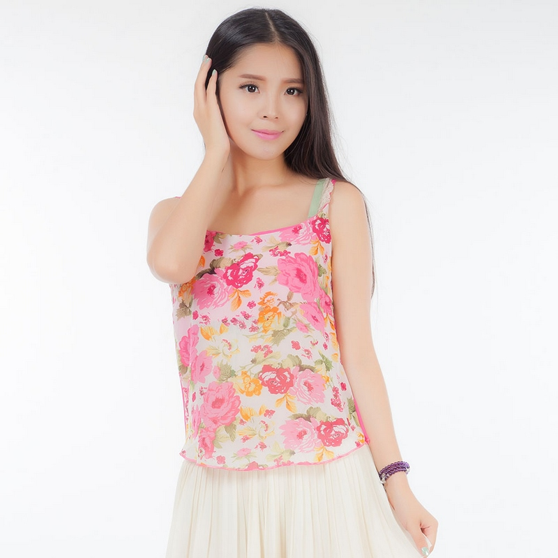 Women Casual Tops Summer Style Floral Vest Halter Top Free Shipping Bandage Top Tank Top