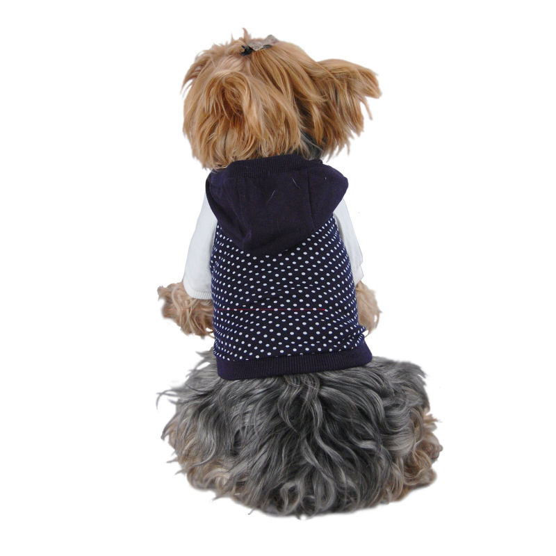 Dog Dark Blue Polka dots cotton Hoodie Pet Clothes XXS-L