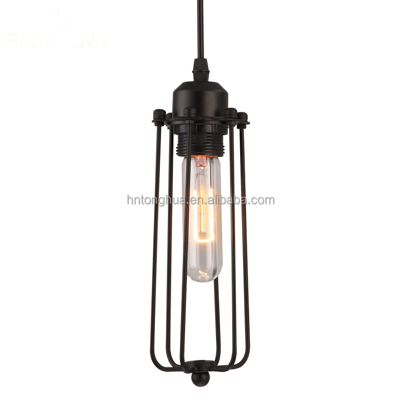 Industrial Style Pendant Light Metal Cage Lampshade Lighting Fixtures For Coffee Shop