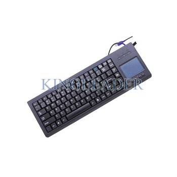 Rugged plastic keyboard with function keys and integrated touchpad