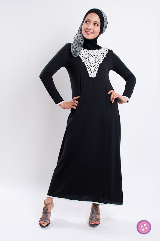 Long Sleeve Embroidered Abaya Jubah Muslim Dress FJ0170