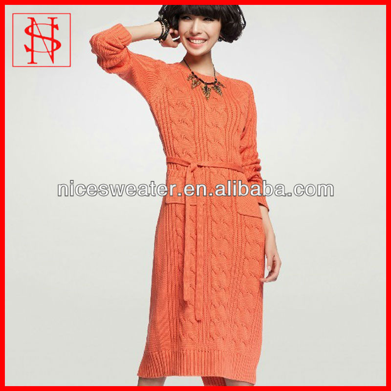 Autumn/winter cable heavy sweater coat korean long underwear hand knitted dress