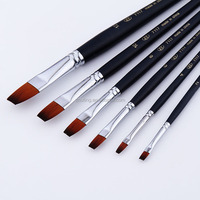 6 pcs best quality length rod nylon artist painting brushes