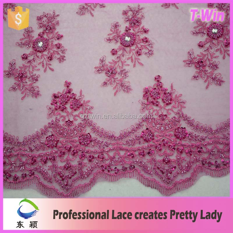 New designs! Pink Elegant Wedding Dress Tulle Beaded French embroidery Lace Fabric wholesale