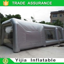 Custom portable inflatable paint booth in garage