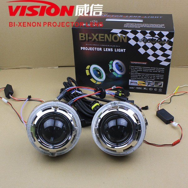 iPHCAR Wholesale LED light guide angel eyes Hid bi-xenon headlight projector lens kits for car