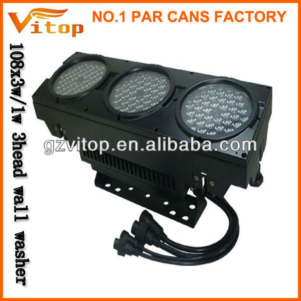 2014 108X1W led 3 head led wall washer light dmx