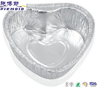 0.06mm aluminum foil silver heart-shaped container for cake pacakge