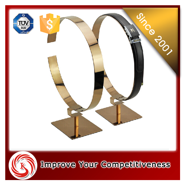 Stainless steel golden color leather belt counter stand display for retail