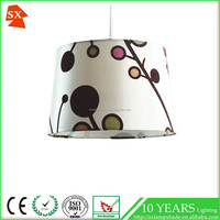 indoors big white colorful flower silk fabric flocking drum PVC lampshade