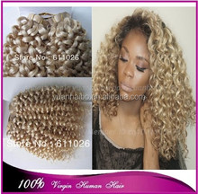 300g Wholesale price 7a quality 22# blonde curly virgin brazilian hair double tape hair extension
